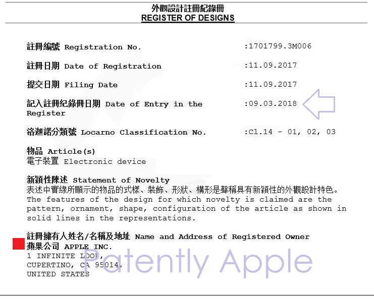 The Hong Kong Patent Office Grants Apple 6 iPhone X Design Patents